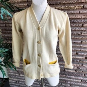 Kandel Vintage Ivory Wool Varsity Cardigan Sweater